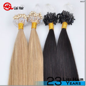 2015 Alibaba Golden Suppliers Good Feedback Remy Thick End hot sale micro bead hair extensions