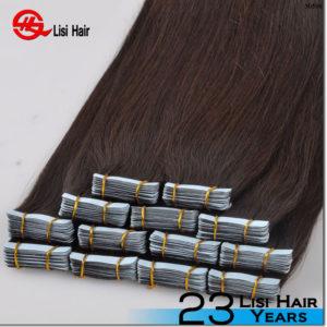 Large Stock Top Quality Virgin Hair 100% human hair dark brown tape hair extension