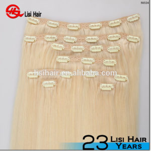 Promotion Wholesale Double Drawn Thick End Remy clip in hair extension
