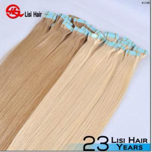 Wholesale 100% european hair tape hair extension high quality straight tape hair
